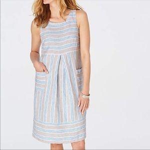 J. Jill Linen Stripe Two Pocket Dress Sz M